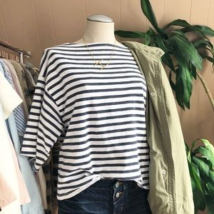 Gap navy & white striped boxy fit top medium